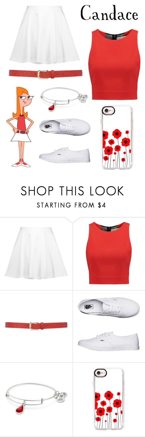 """""""Candace"""" by brianapaige14 ❤ liked on Polyvore featuring Alice + Olivia, M&Co, Vans, Alex and Ani, Casetify, white, red, disney, phineasandferb and disneycharacter"""