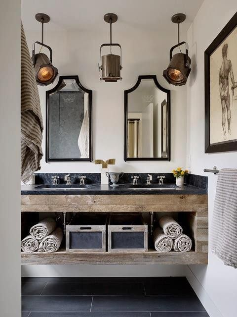 French Industrial bathroom // Love the lights