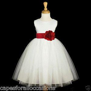 red and white flower girl dresses   WHITE APPLE CHERRY RED TULLE SATIN FLOWER GIRL DRESS 12M-18M 2 3 4 5 6 ...