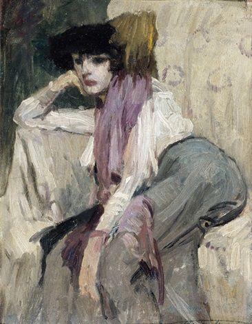 Femme accoudée by Henri Joseph Thomas