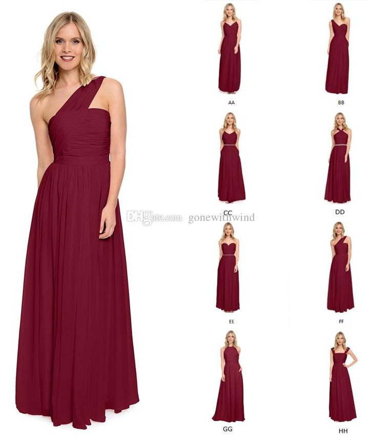 2016 Burgundy Bridesmaid Dresses Long Wedding Guest Dresses Formal Evening…
