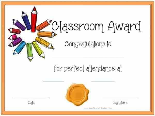 Free Printable Perfect Attendance Certificate Templates Customizable Perfect Attendance Certificate Attendance Certificate Perfect Attendance Award
