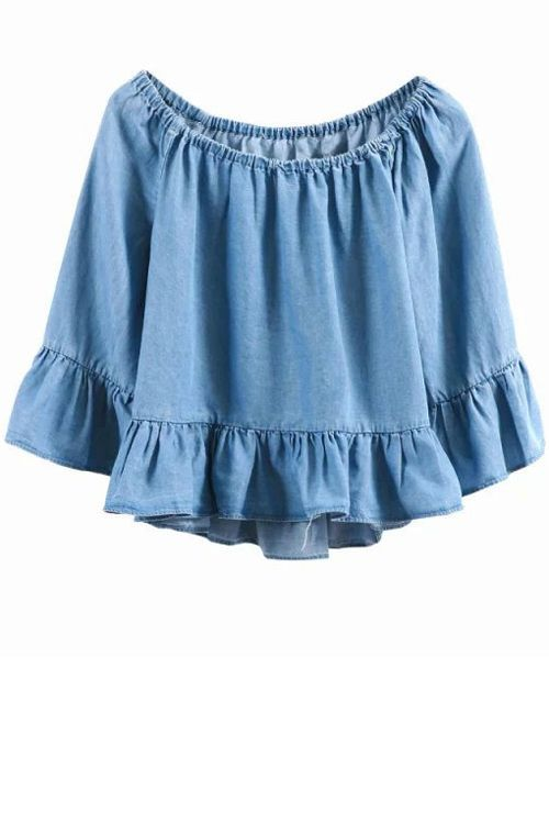 chambray ruffle shop the shoulder top