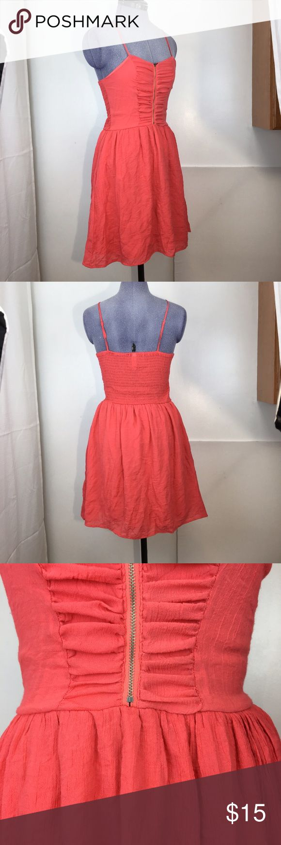 Lightweight Coral summer dress with zipper The color of this dress is more coral than orange.  It is super cute for summer. Dresses Mini
