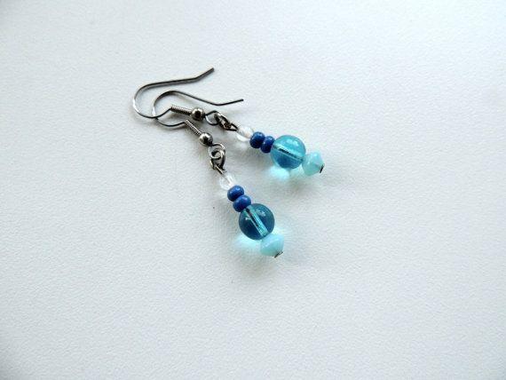 light blue earringsbead earrings dangle by Homeforglasslovers, $5.50