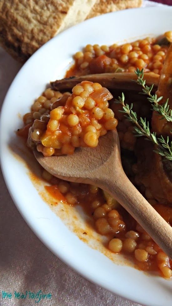 The Teal Tadjine | Mediteranean-Inspired Family Traditions + Halal Recipes : Berkoukés B'lham | Large hand rolled Algerian couscous with lamb and apricot