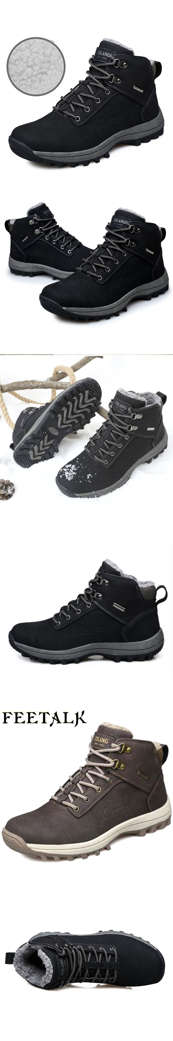 Waterproof Hiking Boots For Men Outdoor Genuiner Leather Mens Hiking Shoes Winter plush Warm Snow Boots Trekking Shoes #hikingshoes