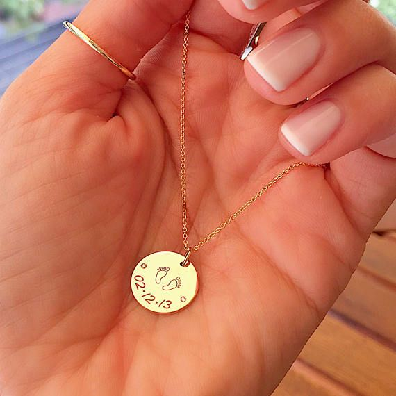 Mother's Day, Perfect gift for mom, Gold Round Diamond Plate Footsteps Necklace, Yellow Gold Pendant, 14 karat Solid Gold Delicate Charm