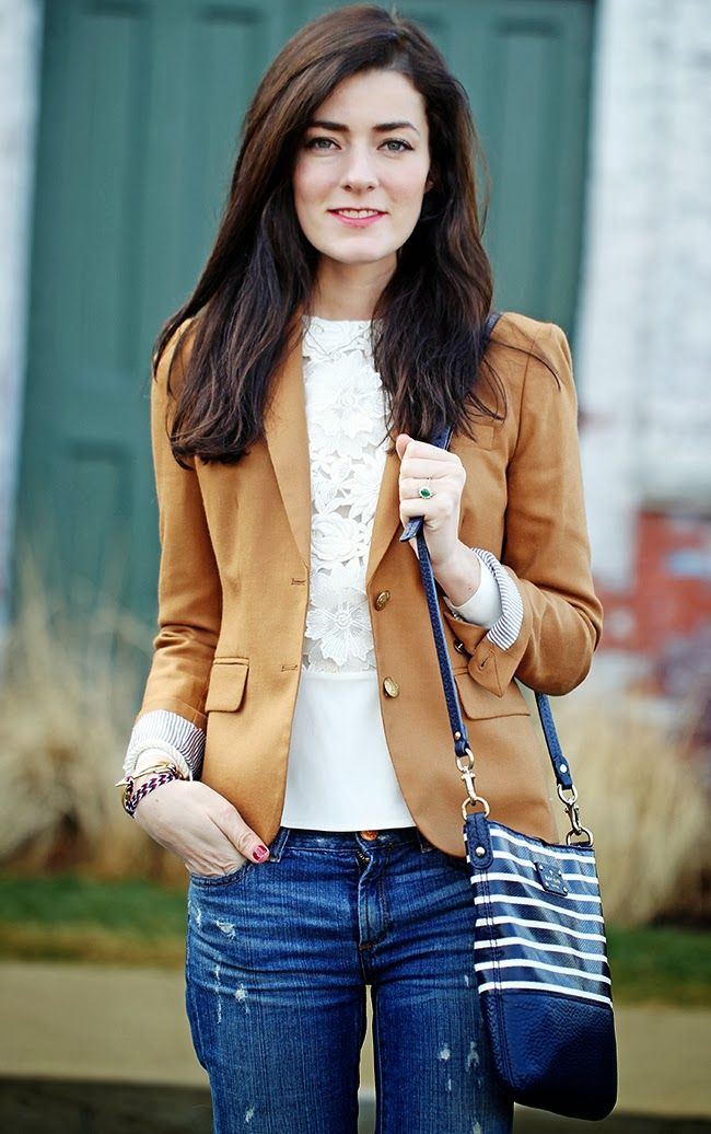 Camel J.Crew blazer over lace top and jeans - Sarah Vickers KJP