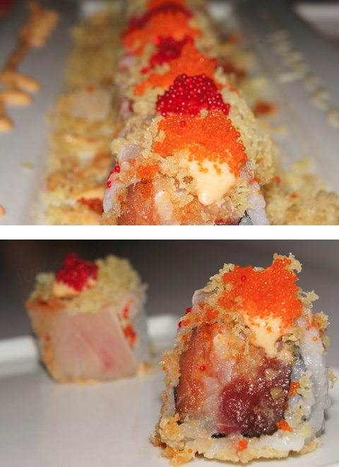 Romi Roll: tuna, salmon, whitefish and cilantro inside. It is then topped with wahoo, tempura flakes, kimchee sauce and red and orange tobiko