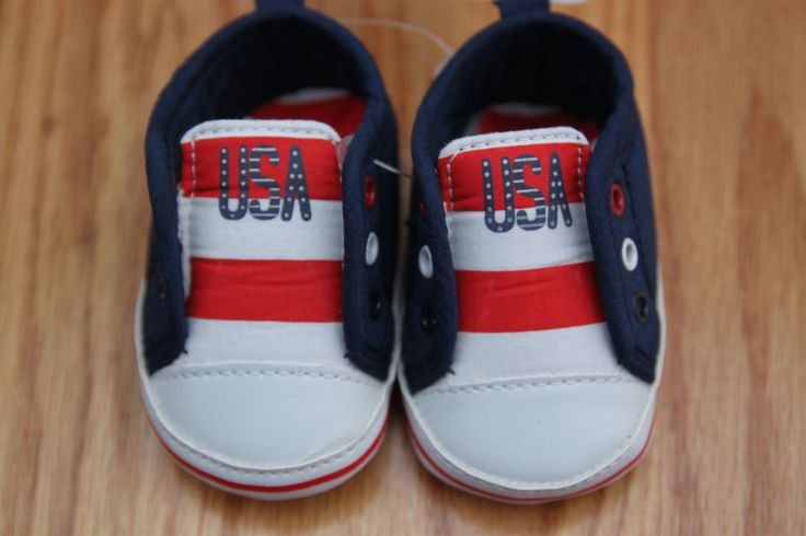 Carter's Just One You Baby Boy Slip On Shoes~ Newborn~ Red, White & Blue ~ USA ~ #Carters #USA