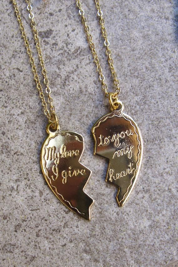 13912da89 Broken Heart Necklace Heart Pendant 2 hearts #jewelry #necklace  @EtsyMktgTool #helydesigns #couplenecklace #girlfriendnecklace #2necklaceset