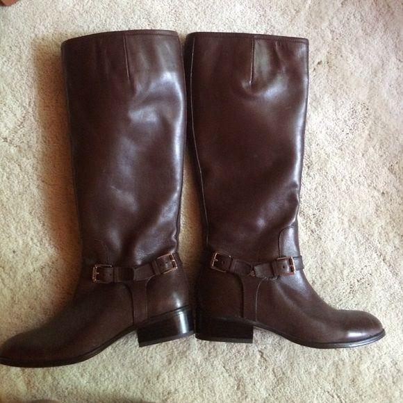 tall brown ralph lauren boots! tall boots, brown, never used Ralph Lauren Shoes