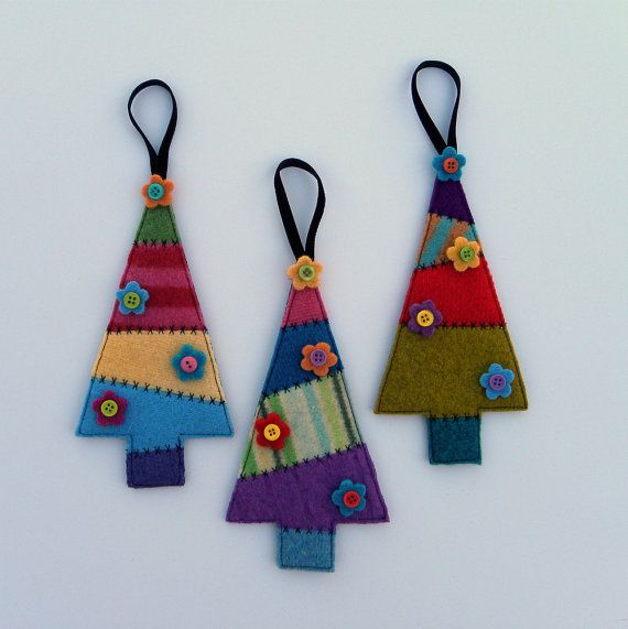 Rescued Wool Ornaments - Patchwork Sweater Trees - Set of Three - recycled wool by alicia todd