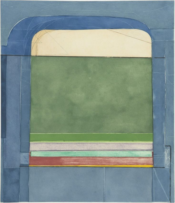RICHARD DIEBENKORN Blue Surround, 1982 Color aquatint, spit bite aquatint, etching offset, and drypoint with scraping 22 × 19 in 55.9 × 48.3 cm