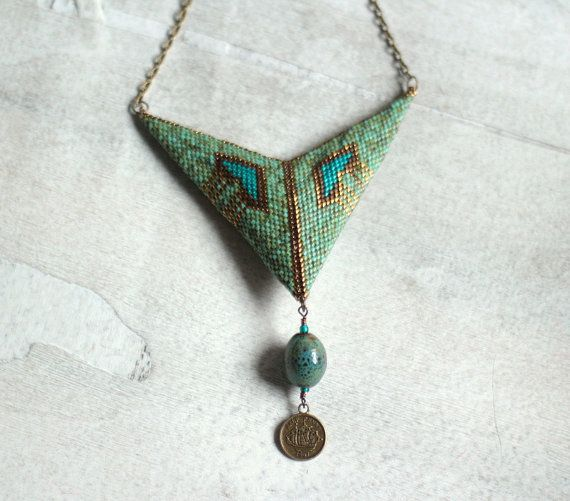 Bohemian style, double sided chevron necklace made with turquoise and antique gold, high quality beads. The pendant is made of two sides with the