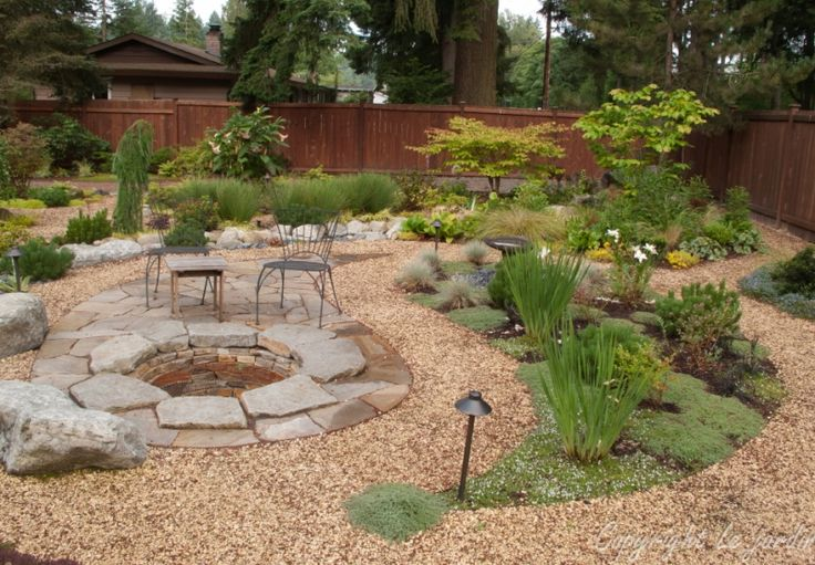 flagstone gravel yard design Home backyard