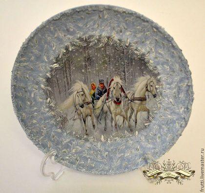 """Новый год 2015 ручной работы. Ярмарка Мастеров - ручная работа Тарелка """"Три белых коня"""". Handmade."""