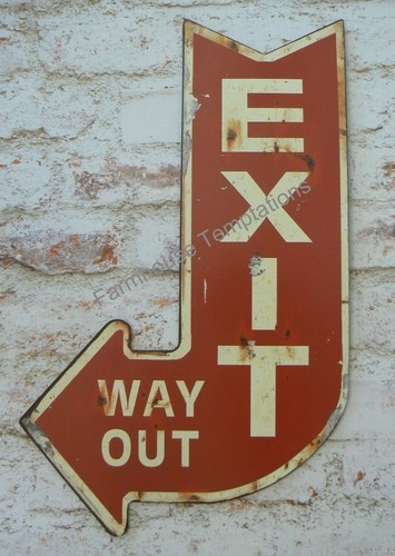 Vintage Exit Way Out Sign