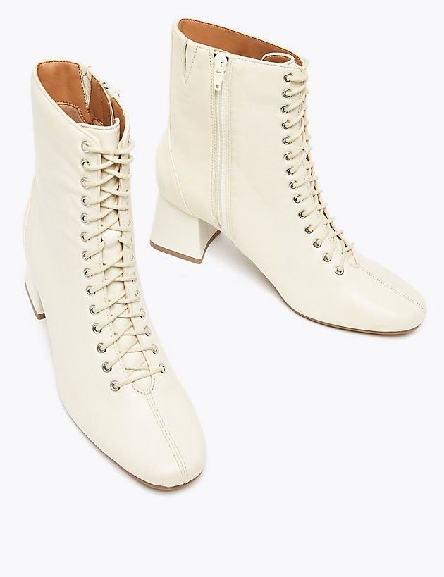 M\u0026S cream Leather Lace Up Ankle Boots