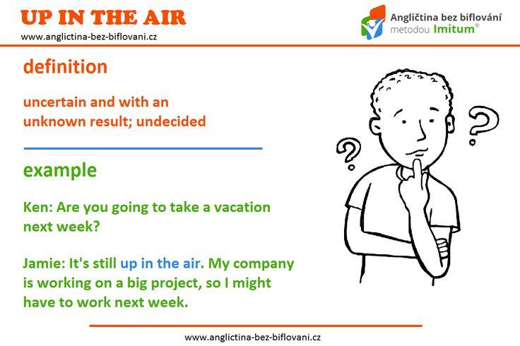 """Pokud se vaše nadcházející plány nacházejí """"UP IN THE AIR"""", znamená to, že jsou neurčité a s neznámým výsledkem. ❓😟❓ #anglictina #idiom"""