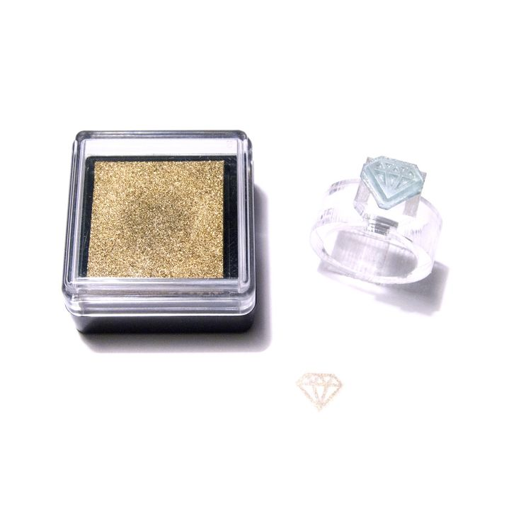 diamond stamp ring with gold ink pad