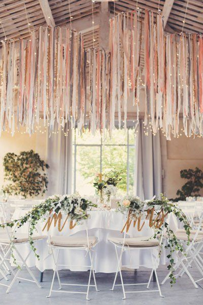 Suspended crowns of fairy lights and streamers in a soft palette are pastel perfection.