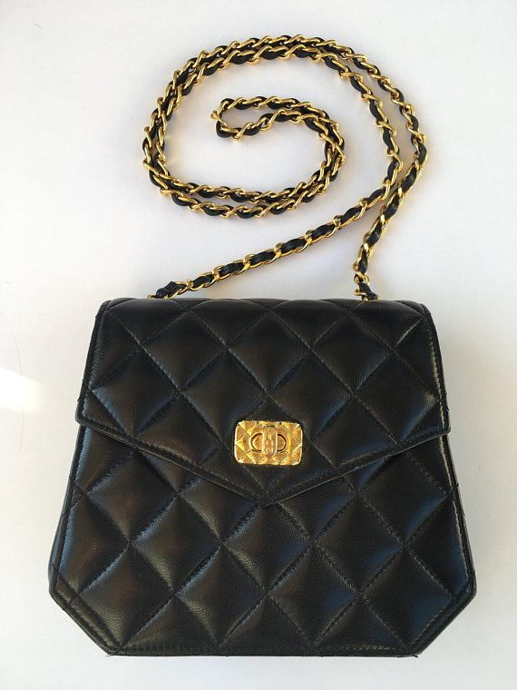 Vintage embroidered padded black evening outs with chain