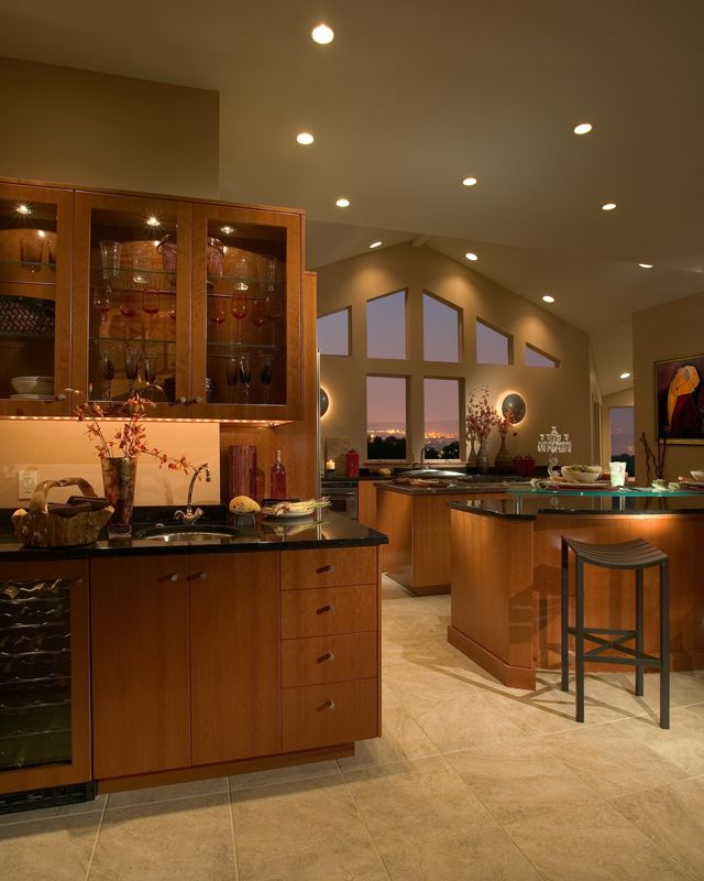 Asian Inspired Kitchen Design, Quartered Cherry, Stainless Steel Knobs, Black Pearl Granite, Fully Integrated Dishwasher