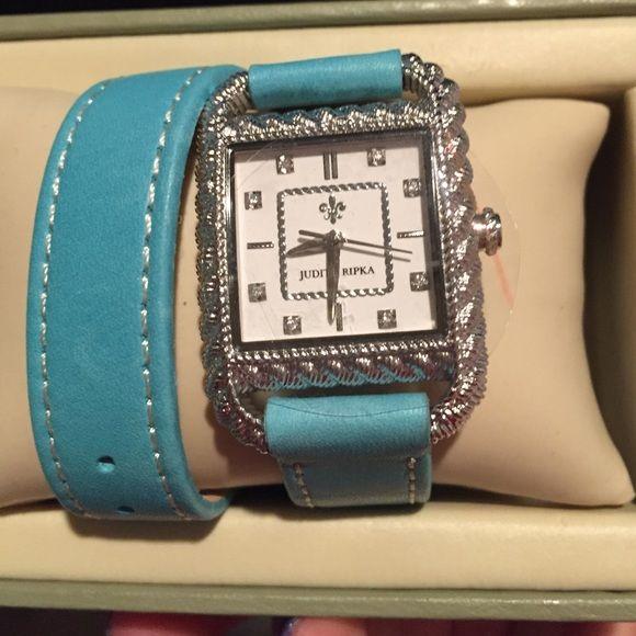 Judith Ripka Stainless Steel Leather Strap Watch Never been worn Judith Ripka watch!  BRAND NEW! Judith Ripka Accessories Watches