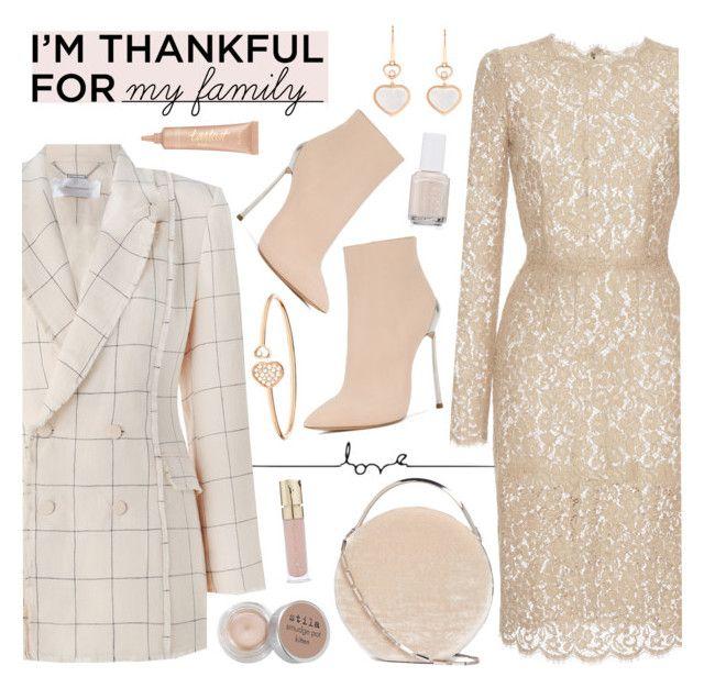 """I'm thankful for my family"" by freshprincesse ❤ liked on Polyvore featuring Zimmermann, Dolce&Gabbana, Casadei, Eddie Borgo, Chopard, Stila, Smith & Cult, Essie and tarte"