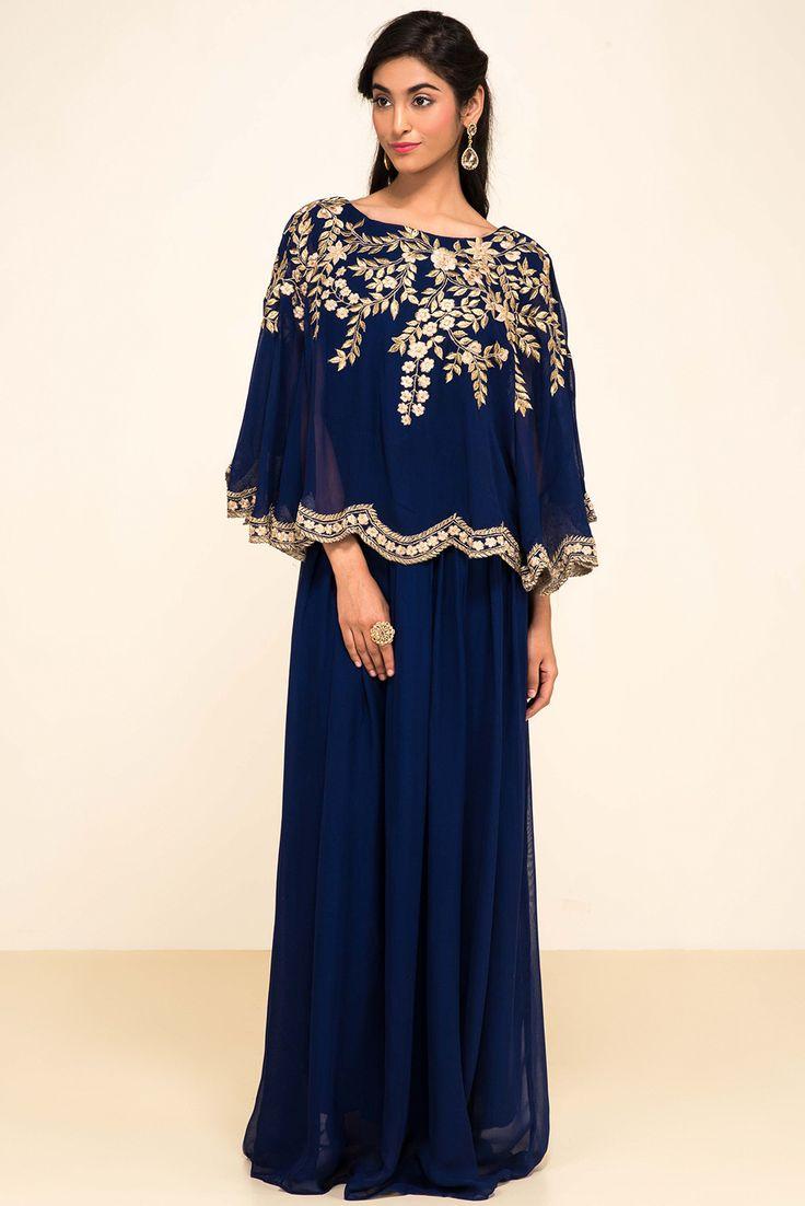 ZAYAH Navy Blue Cape Style Gown #flyrobe #wedding #weddingoutfit #flyrobeweddings #receptionoutfits #designerwear #designergown #receptiongown