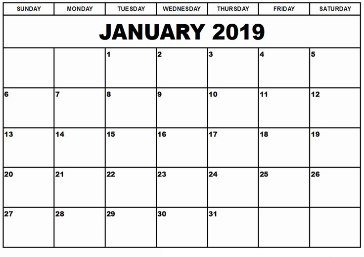 Blank Calendar January 2019 Online Calendar January 2019 Withjanuary