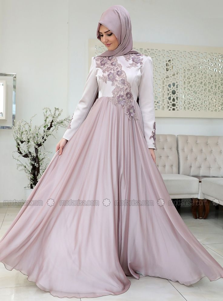 Purple - Fully Lined - Crew neck - Muslim Evening Dress - SomFashion