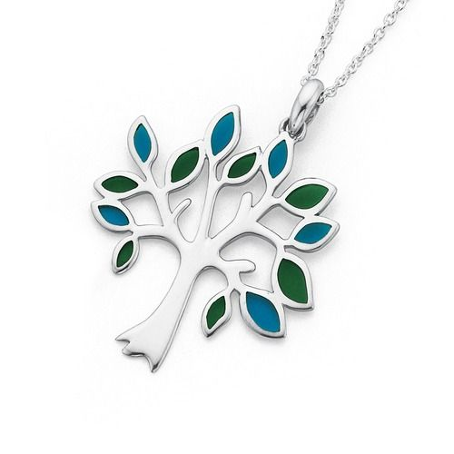 Silver Blue & Green Resin Tree of Life Pendant