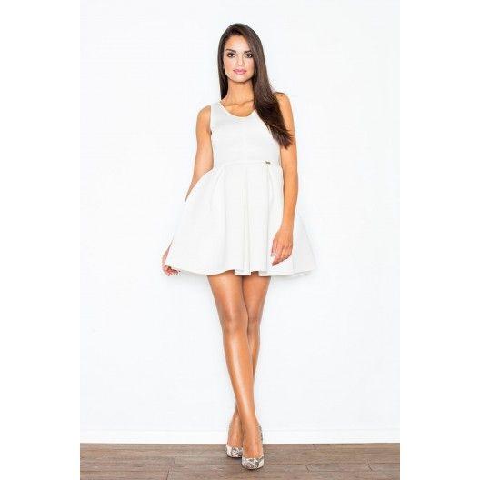 Večerní koktejlové šaty áčkového střihu v bílé barvě - manozo.cz
