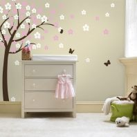 Butterfly and tree sticker wall art