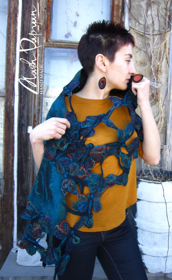 Felted scarf  Night dragonfly  by MashPapyanHandmade on Etsy, $115.00