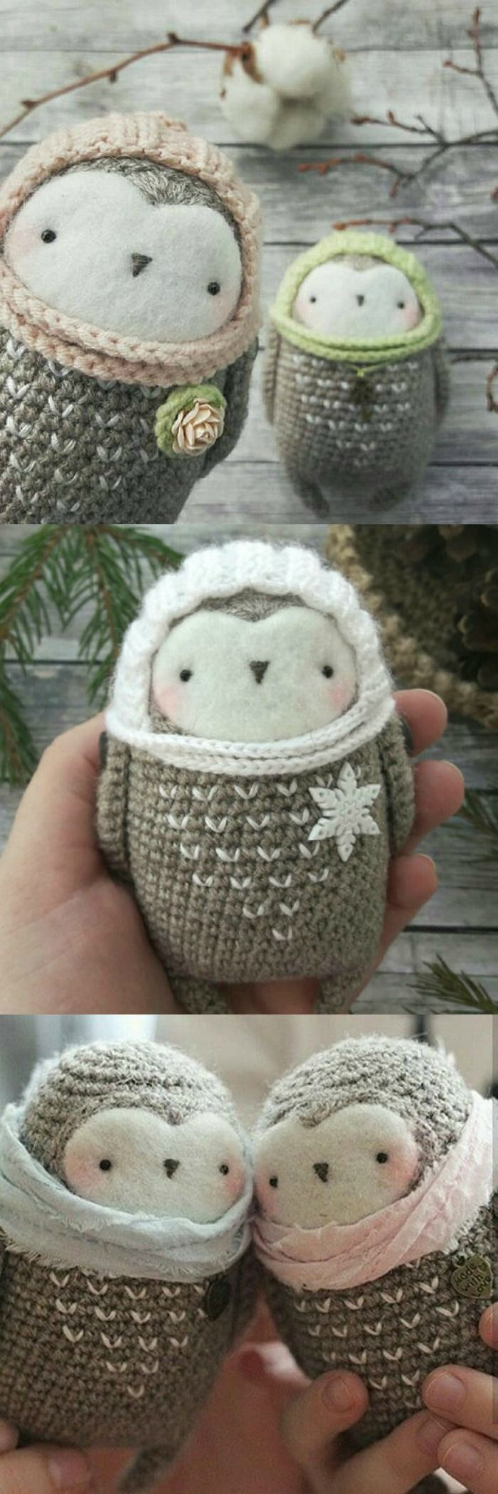 Super sweet and simple owl crochet pattern to download. Looks quick and easy. Love the details! #etsy #ad #amigurumi #owl #crochet #pattern #pdf #winter #toy #stuffy