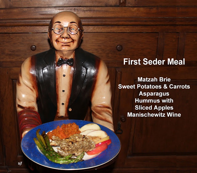 First Seder Meal. Matzah Brie, Sweet Potatoes & Carrots, Asparagus, Hummus with Sliced Apples, Manischewitz Wine. Served by a cute butler.