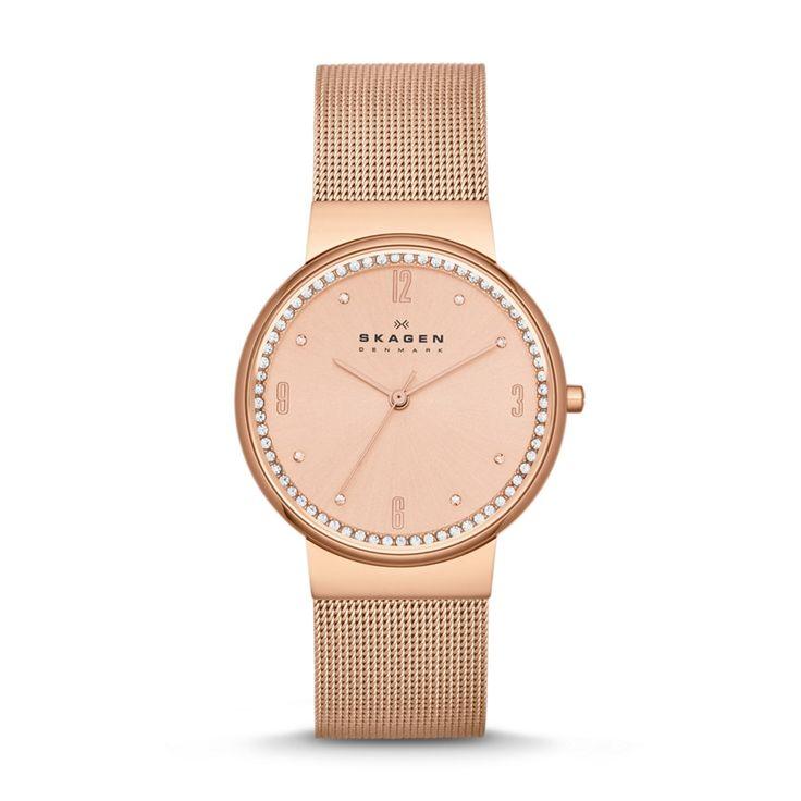 Skagen designs damen armbanduhr analog edelstahl gold 39lgg1