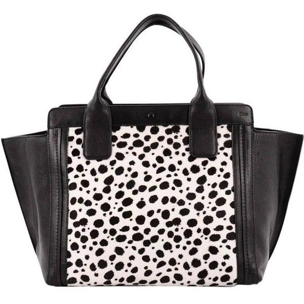 Preowned Chloe Alison East West Tote Calf Hair Small ($450) ❤ liked on Polyvore featuring bags, handbags, tote bags, black, top handle bags, chloe tote, polka dot tote, leopard purse, handbag tote and chloe tote bag
