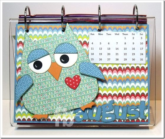 My Calendar page for August, using Sizzix Owl # 2 Bigz Die. created by Frances Byrne