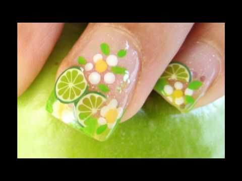 ▶ LIME NAIL DESIGN Diseño de Limon para uñas con fimo cane slices - YouTube