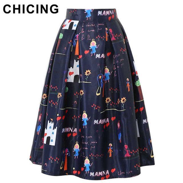 CHICING Kids Cartoon Character Graffiti Printed Midi Skirts Womens 2016 Funny Summer High Waist Pleated Saias A1606015