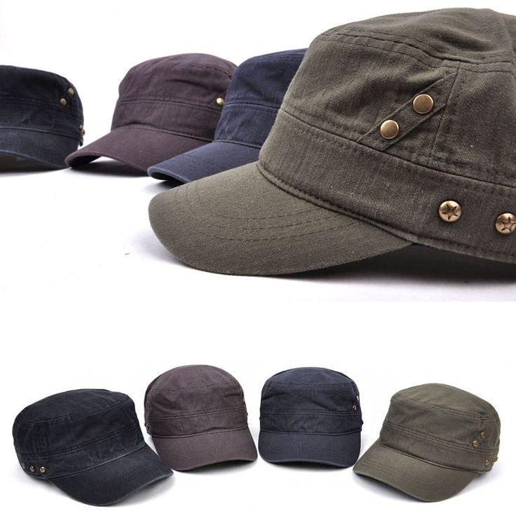 Mens Womens Classic Star Stud Vintage Army Military Cadet Patrol Castro Cap Hats #hellobincom #CadetPatrolCastroCapHats