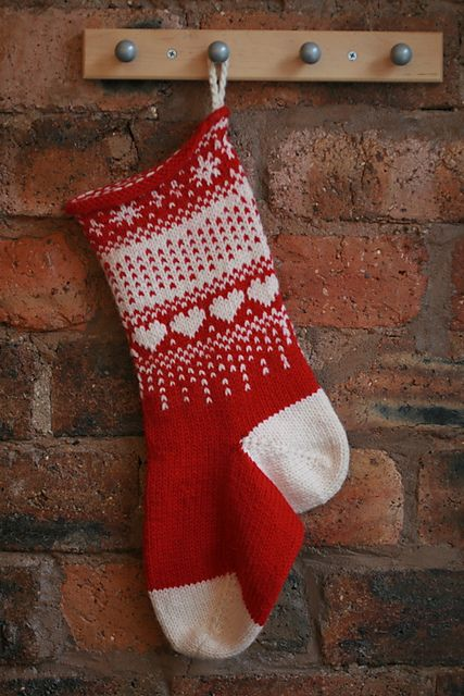 A simple, stranded Christmas Stocking in aran weight yarn, knit from the top down.