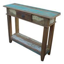 Aparador em madeira de demolição e acabamento em patchwork, com 1 prateleira e 1 gaveta, com puxador em aço envelhecido