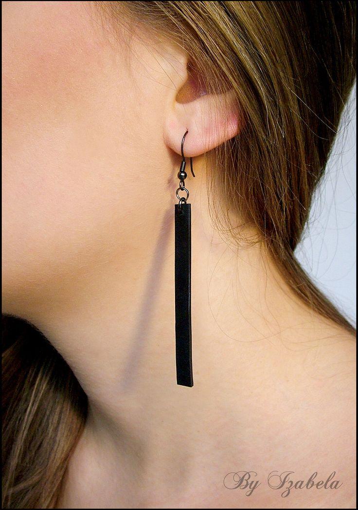 Long Thin Black Dangle Earrings / Lightweight earrings / Polymer clay jewelry / Simple elegant one color earrings / Minimalist earrings by ByIzabela on Etsy https://www.etsy.com/listing/175288569/long-thin-black-dangle-earrings