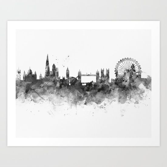 Collect your choice of gallery quality Giclée, or fine art prints custom trimmed by hand in a variety of sizes with a white border for framing. #london #skyline #art #print